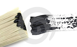Painting - Black Brush Stroke With Brush Stock Image - Image: 4934031
