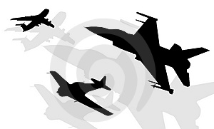 Silhouettes Of Aircrafts Stock Photo - Image: 4936800