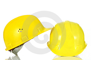 Two yellow helmet Stock Image