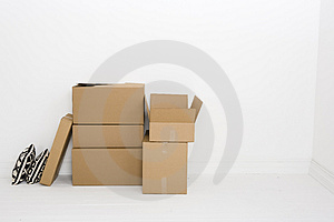 Open box and pillows Stock Photos