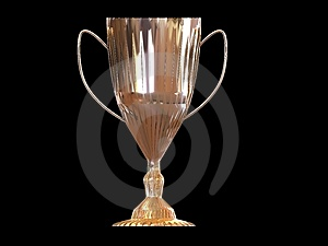 Trophy on black background Royalty Free Stock Image