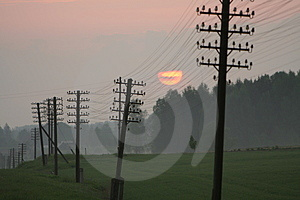 Power Lines In Sunset Royalty Free Stock Images - Image: 4964729