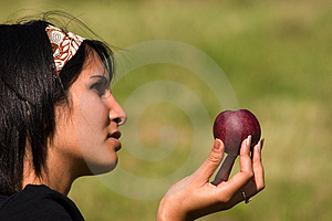 Woman And Apple Stock Photo - Image: 4984530