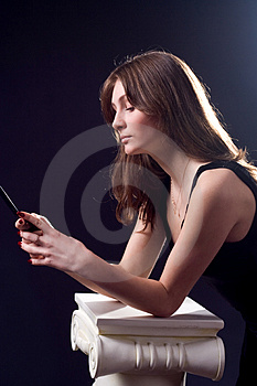 Lady With Mobile Phone Stock Photo - Image: 4984690