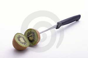 A Pair Of Sliced Kiwi Knifed At Its Core Stock Photography