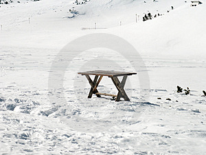 Table in Snow Stock Photo