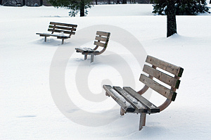 Benches in Snow Stock Images