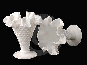 Milkglass Vases (Hobnail) Stock Image