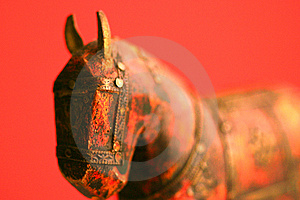 Red Wood horse Stock Photography