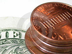 Cents on a dollar Royalty Free Stock Image