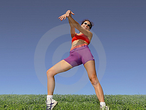 Girl Exercising Outdoors Stock Image