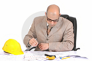Businessman With Architectural Plans Stock Photography - Image: 5008352