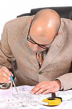 Businessman With Architectural Plans Royalty Free Stock Photos - Image: 5008368