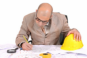 Businessman With Architectural Plans Royalty Free Stock Photos - Image: 5008418