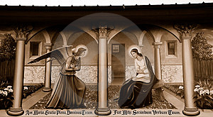 Religious Mural On Wall In Sepia Royalty Free Stock Image - Image: 5027366