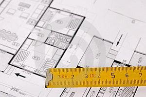 Architektura plánování interiérů určené na papír, zaměřit se na dřevěný metr.