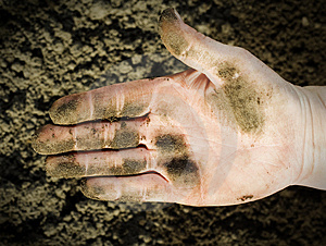 Dirty hand. Royalty Free Stock Image