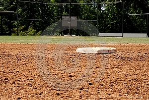 Second base on baseball field Royalty Free Stock Photo