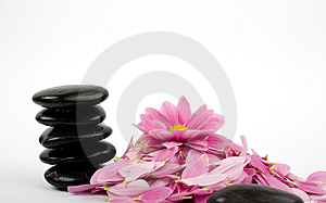 Stack of black stones and flower