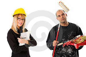 Businesswoman and house painter Stock Photos