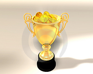 Trophy cup and coins Stock Image