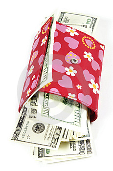 Women's  Wallet With Thousand Dollars Inside Stock Image - Image: 5056451