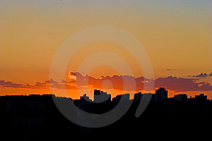 Evening city sunset Royalty Free Stock Photography