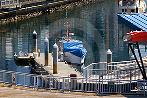 Boats Moored At Pier In Seattle Stock Image - Image: 5069231