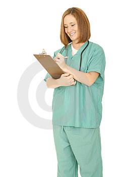Woman In Nurse Uniform Holding Clip Board Stock Images