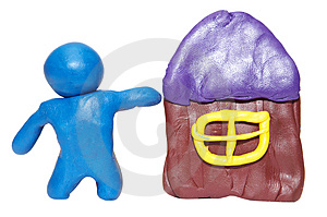 Modelling Clay Man With House Royalty Free Stock Photography - Image: 5073057