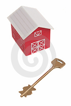 The Red House And Key From The House Stock Photo - Image: 5079950