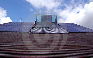 Solar panels and water heating Stock Photography