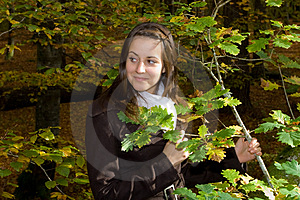 Girl In Autumn Park Royalty Free Stock Photos - Image: 5086078