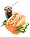 Hot dogs with vegetables Stock Photos
