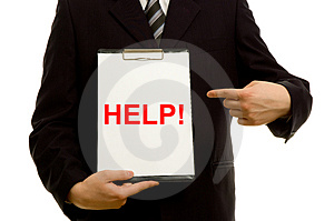 'HELP!' text on clipboard Royalty Free Stock Photo