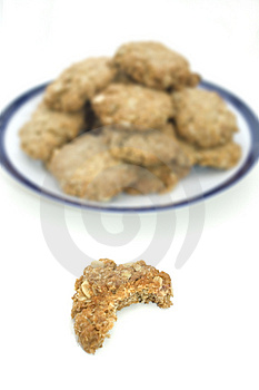 Oatmeal Cookie With Bite Taken Out Of It Royalty Free Stock Images - Image: 5095239