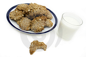 Oatmeal Cookies With Bite Taken Out Of It Stock Photo - Image: 5095250