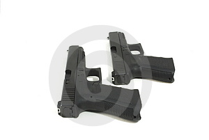 Two Semi Automatic Pistols Royalty Free Stock Image - Image: 5098026