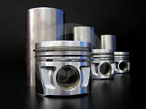 Set of liners and pistons Stock Images