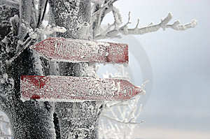 Frozen Signpost Stock Photos - Image: 516783