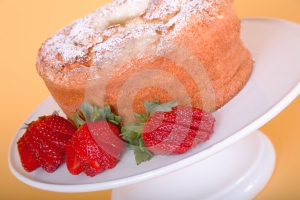 Strawberries And Angle Food Cake Stock Photo