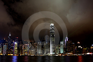 Hong Kong Island light show Royalty Free Stock Image