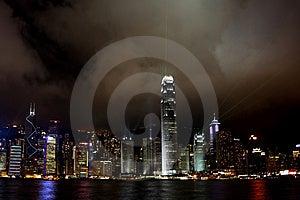 Hong Kong Island light show Free Stock Image