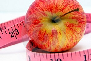 Apple and Tape Measure 3 Stock Photo