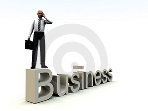 Business Man On Word 2 Stock Image
