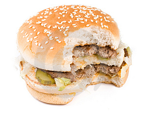 The Taken A Bite Hamburger Stock Images - Image: 5115404