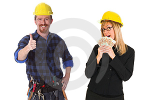 Construction worker and businesswoman Free Stock Photo