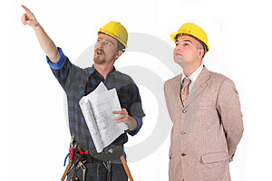 Construction worker and architect Free Stock Photography