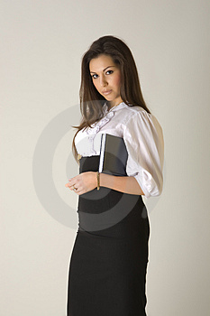 Business Woman Holding Agenda Stock Photos - Image: 5127703
