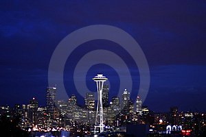 Seattle skyline at night from Queen Anne Stock Photography